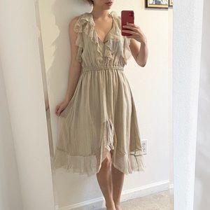 L'Agence Sophie Grey Ruffle Flutter Dress SZ 4
